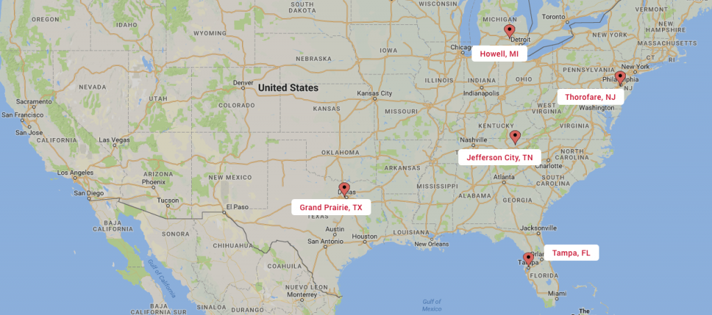 Map image of the locations that USA Wood Door